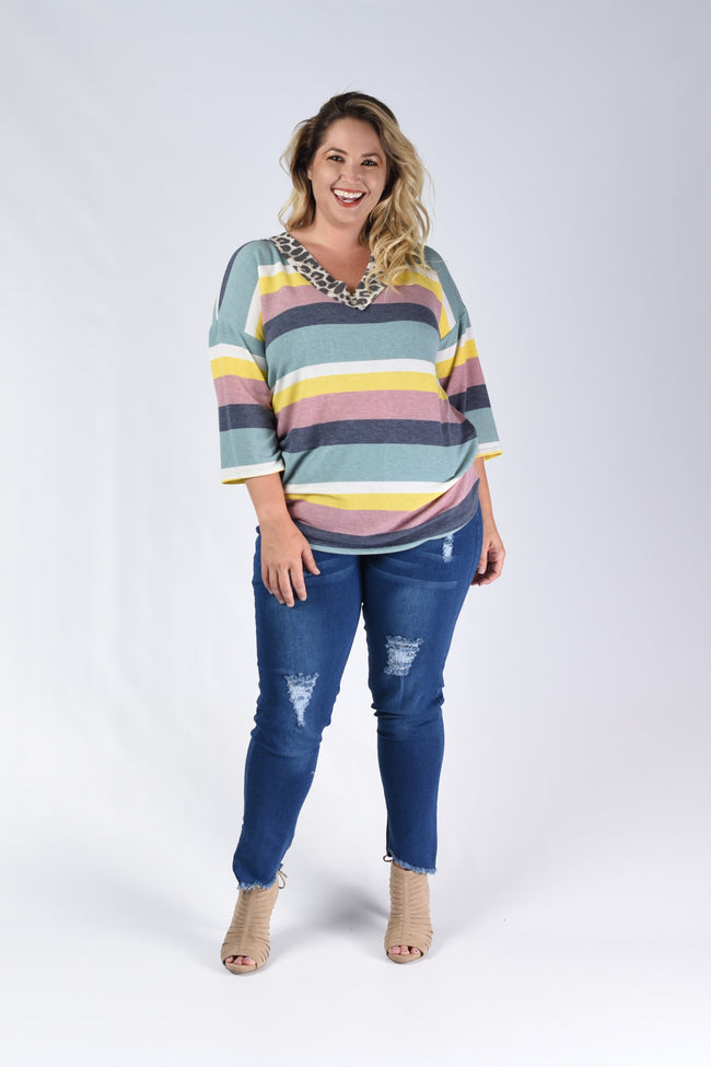Leopard V-Neck Stripe Top - www.mycurvystore.com - Curvy Boutique - Plus Size