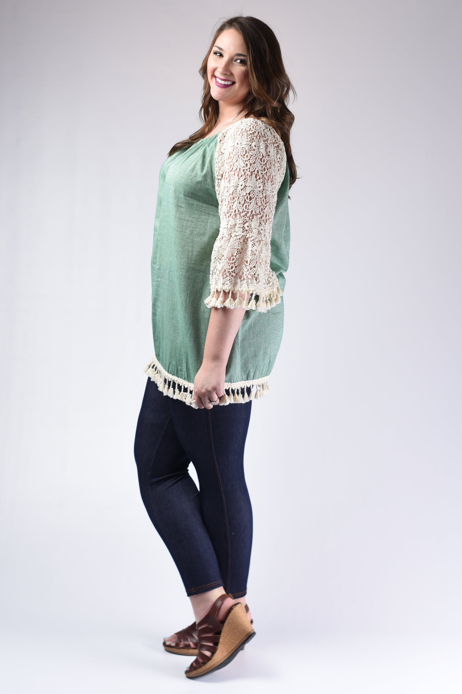 Cool Emerald Crochet Sleeve Tunic Top - www.mycurvystore.com - Curvy Boutique - Plus Size