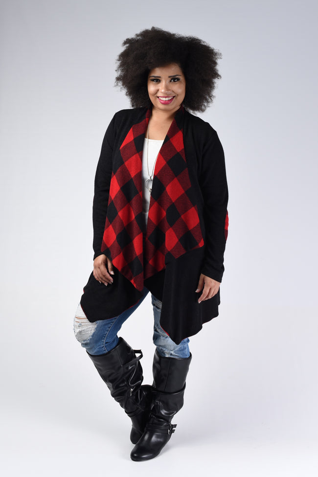 Buffalo Plaid Open Cardigan with Elbow Patch