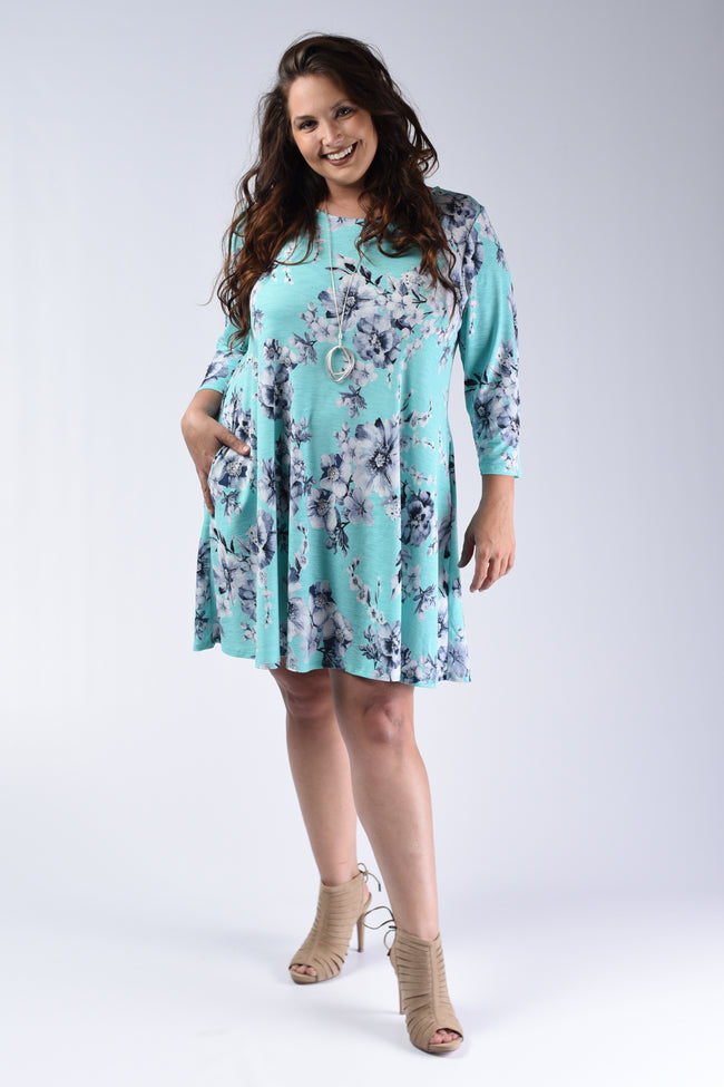 Mint & Navy Floral Dress - www.mycurvystore.com - Curvy Boutique - Plus Size
