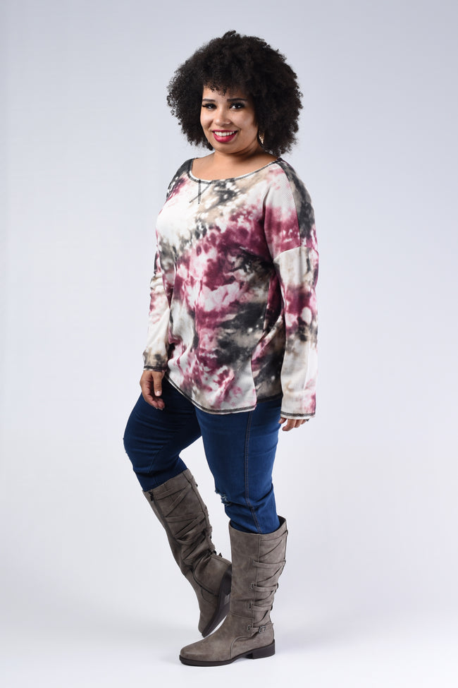 In Your Dreams Tie Dye Top - Burgundy