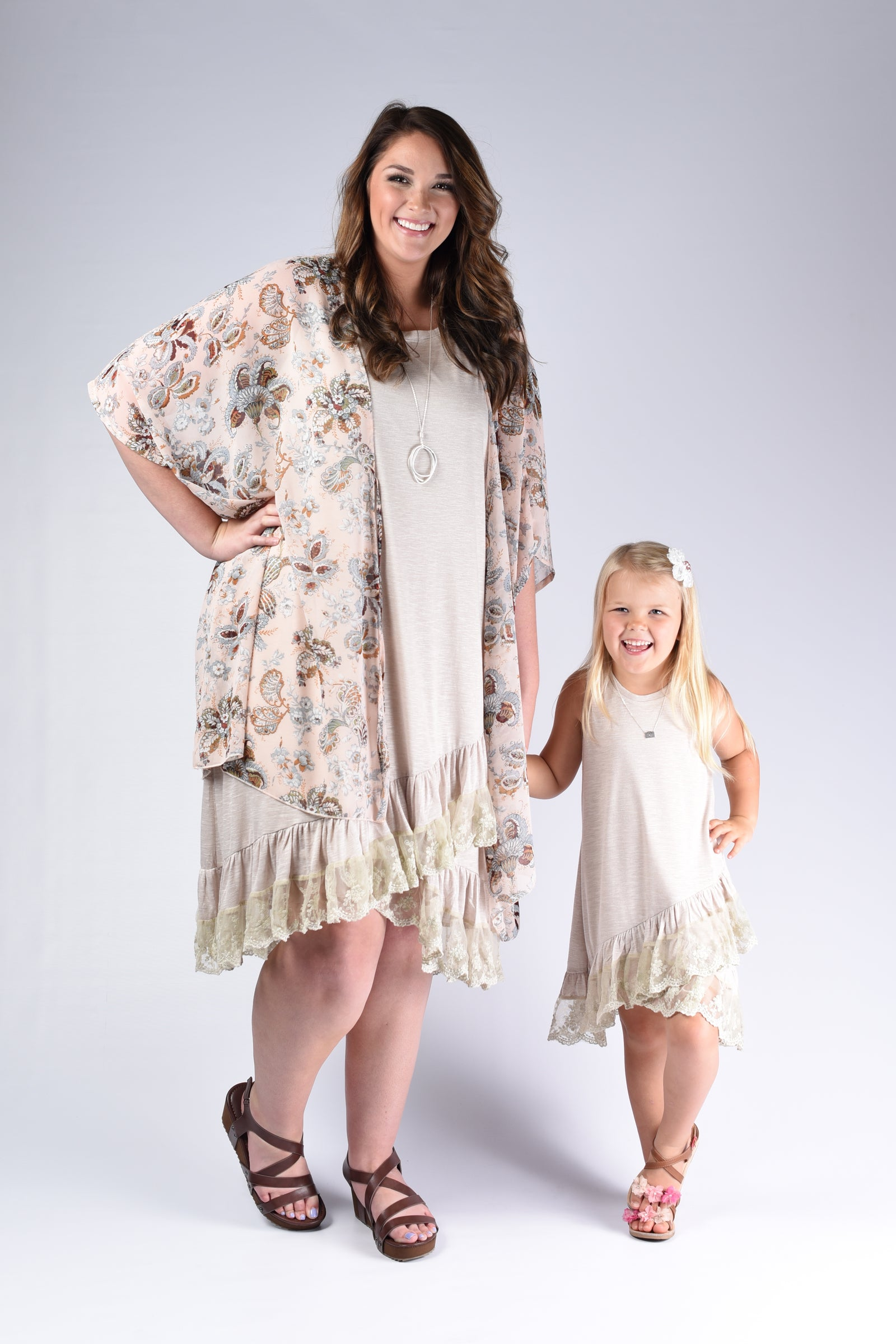 Light Taupe Ruffle Mommy & Me Outfit - www.mycurvystore.com - Curvy Boutique - Plus Size