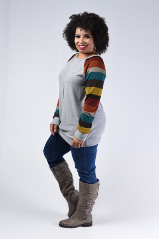 Grey Striped Hooded Top
