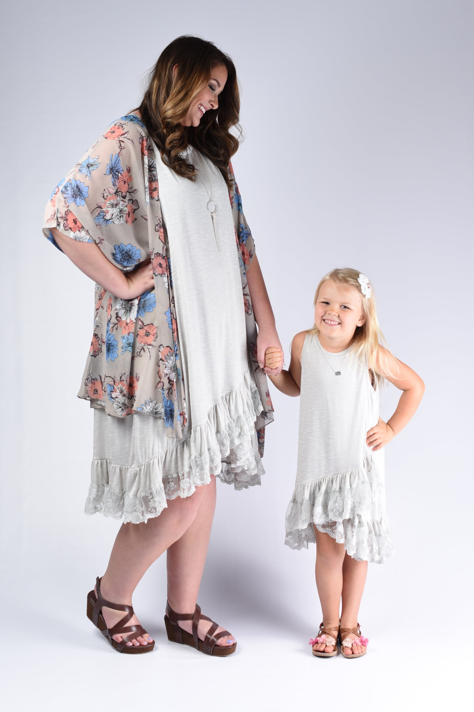 Light Grey Ruffle Mommy & Me Outfit - www.mycurvystore.com - Curvy Boutique - Plus Size