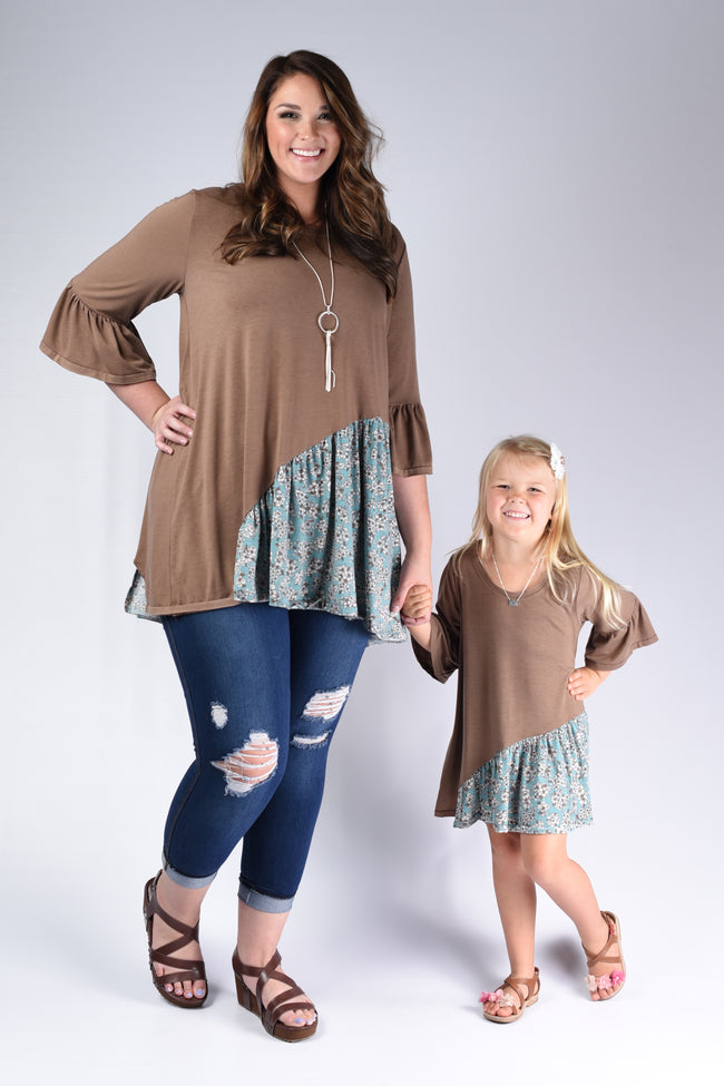 Sweet Blue Floral Mommy & Me Outfit - www.mycurvystore.com - Curvy Boutique - Plus Size