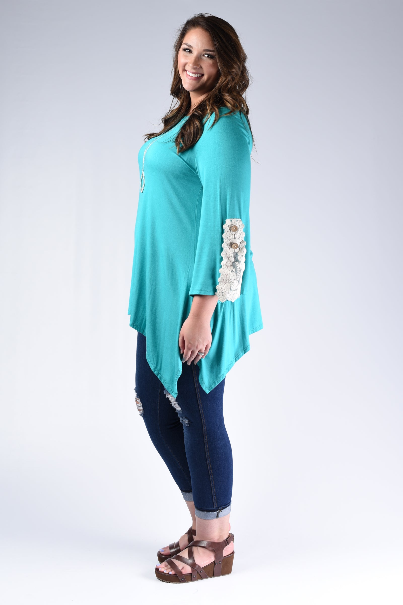 Mint Crochet Cuff Tunic Top - www.mycurvystore.com - Curvy Boutique - Plus Size