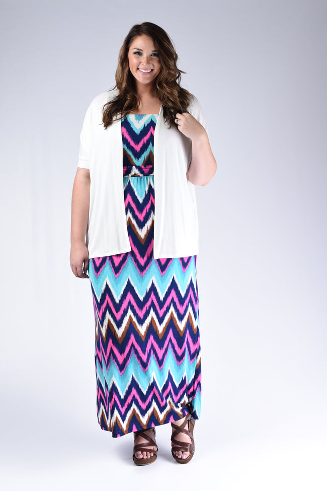 Chevron Strapless Maxi Dress - www.mycurvystore.com - Curvy Boutique - Plus Size