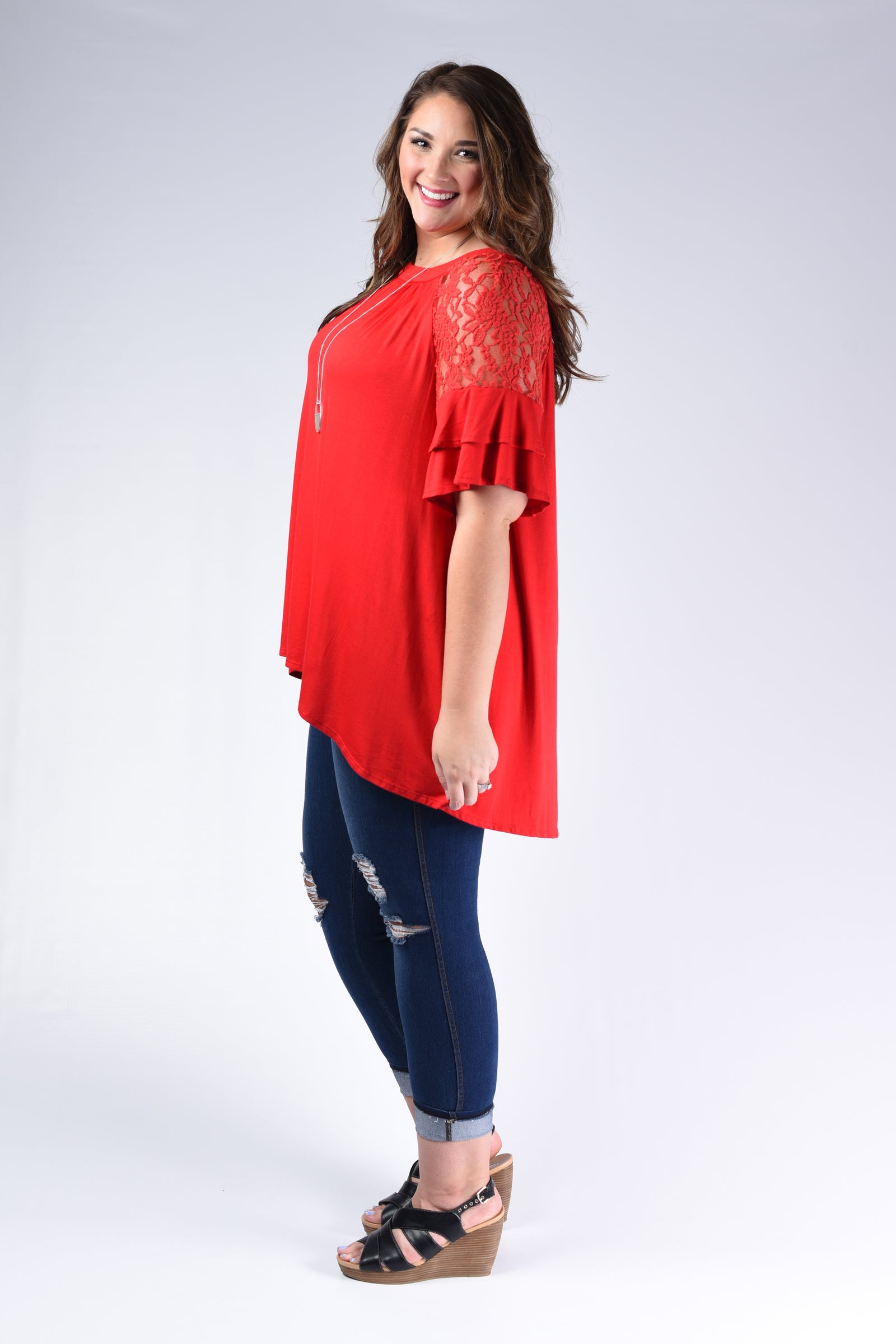 Red Lace Shoulder Top - www.mycurvystore.com - Curvy Boutique - Plus Size