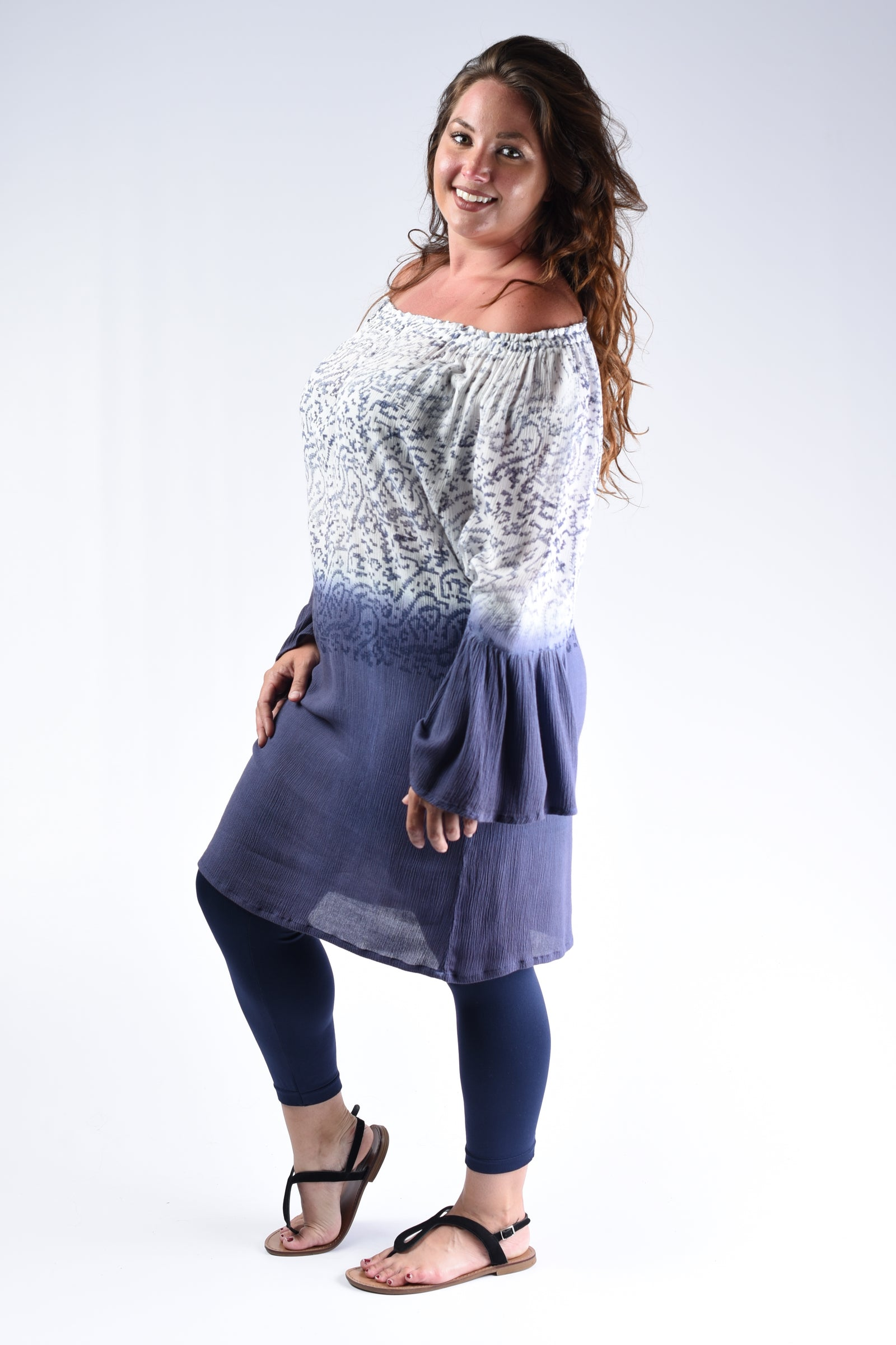 Navy & White Tunic Top - www.mycurvystore.com - Curvy Boutique - Plus Size