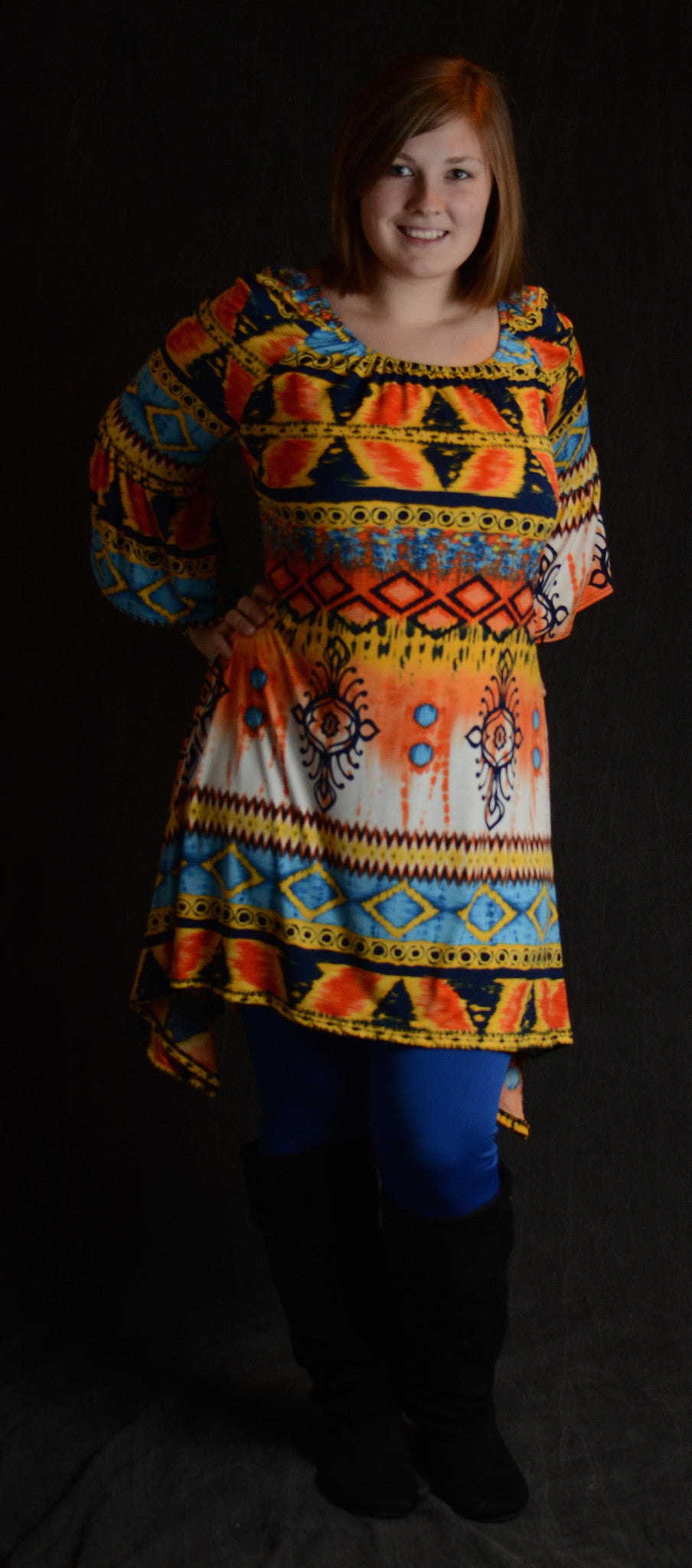 Geo Print Rust Dress - www.mycurvystore.com - Curvy Boutique - Plus Size