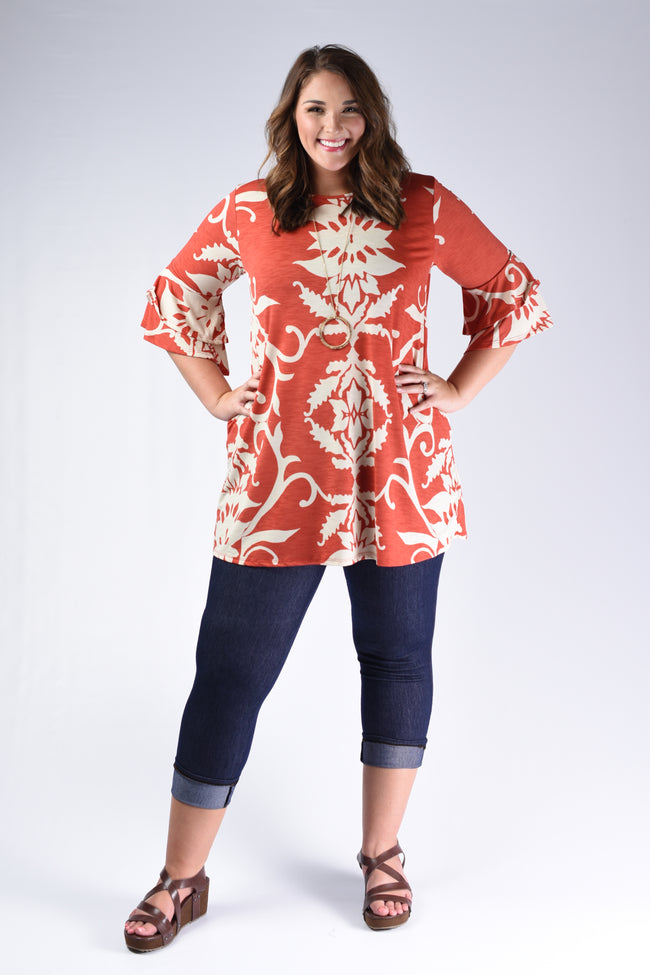 Rust Silhouette Tunic Top