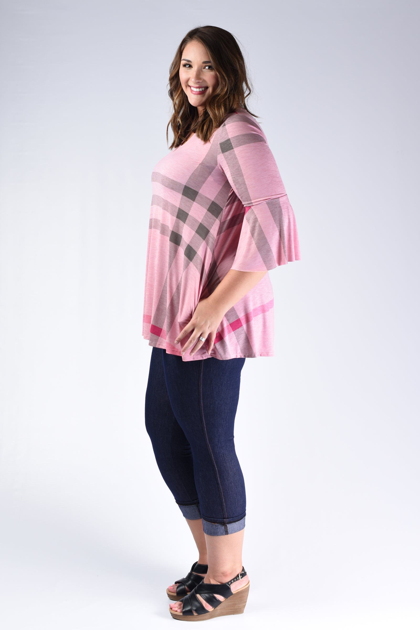 Pink Burberry Plaid Top - www.mycurvystore.com - Curvy Boutique - Plus Size