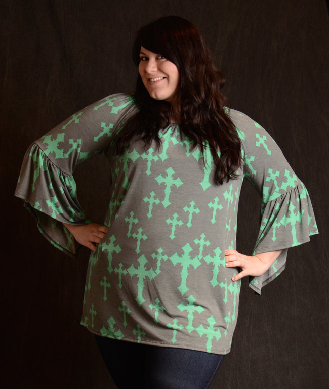 Cross Bell Sleeve Tunic - More Colors - www.mycurvystore.com - Curvy Boutique