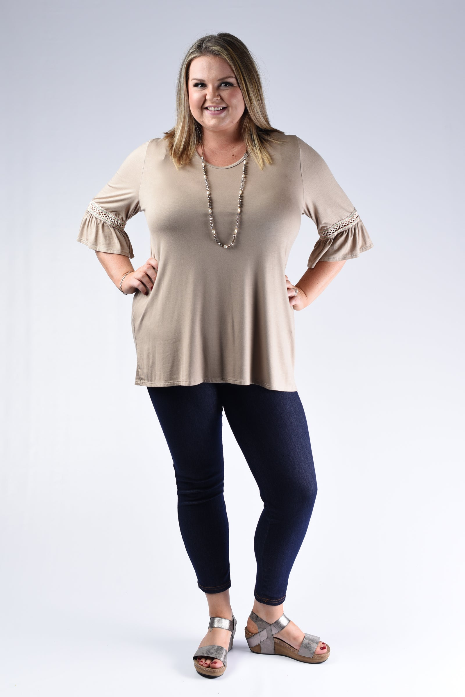 Mocha Swoop Crochet Detail Top - www.mycurvystore.com - Curvy Boutique - Plus Size