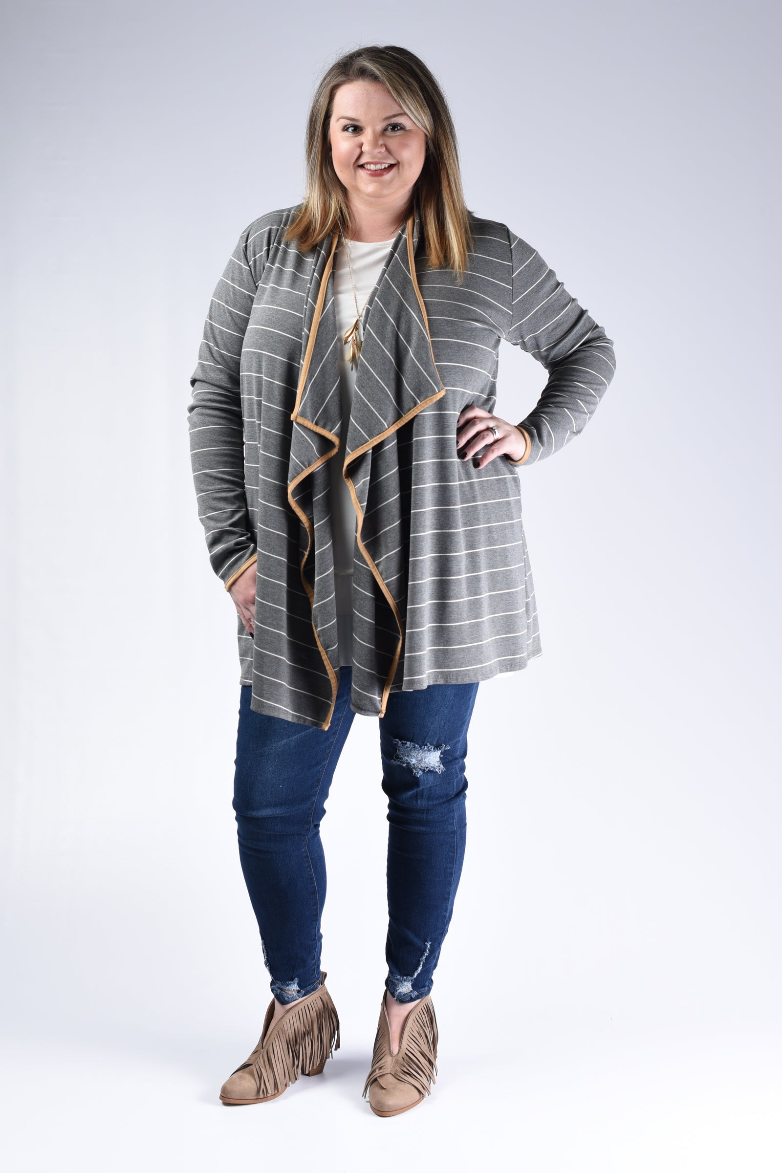 Grey Stripe & Taupe Edge Cardigan - www.mycurvystore.com - Curvy Boutique - Plus Size