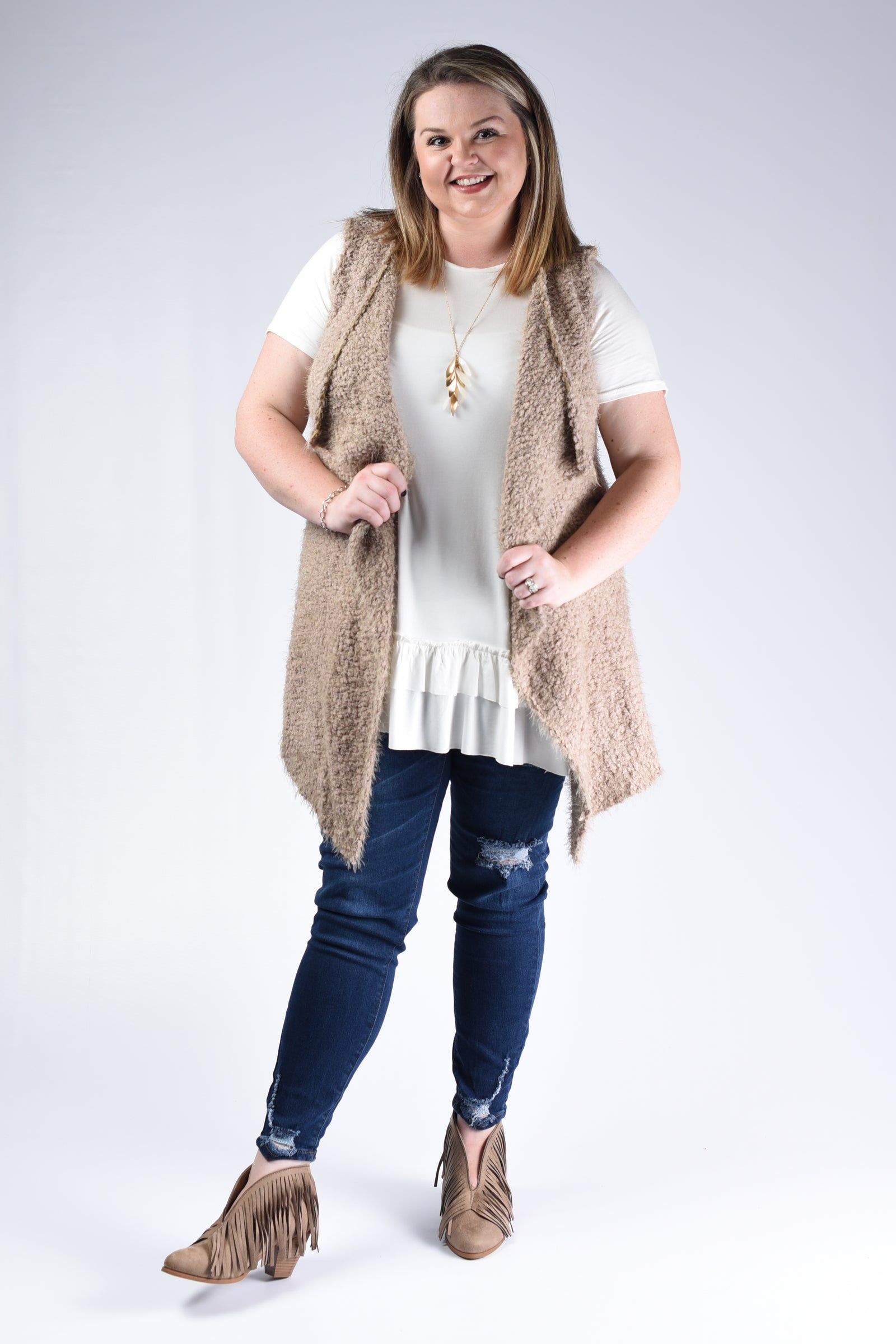 Taupe Waterfall Vest Cardigan - www.mycurvystore.com - Curvy Boutique - Plus Size