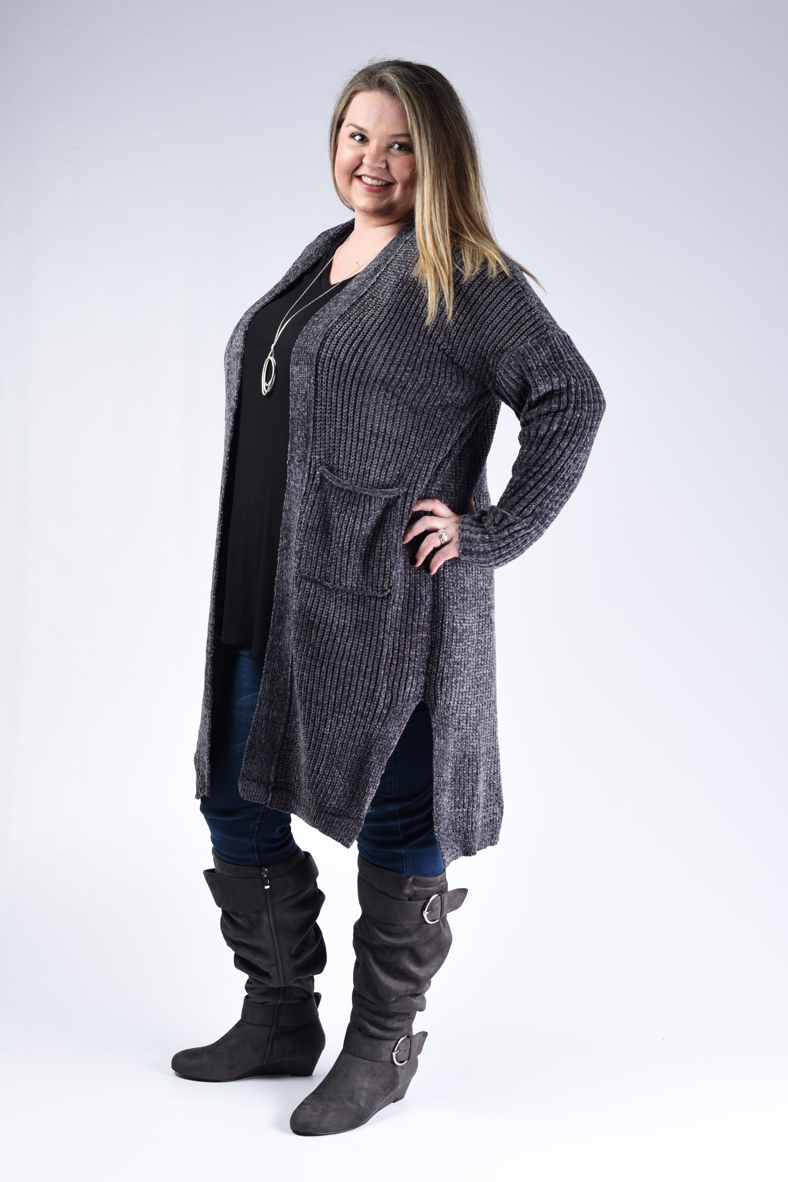 Charcoal Thick Knit Cardigan - www.mycurvystore.com - Curvy Boutique - Plus Size