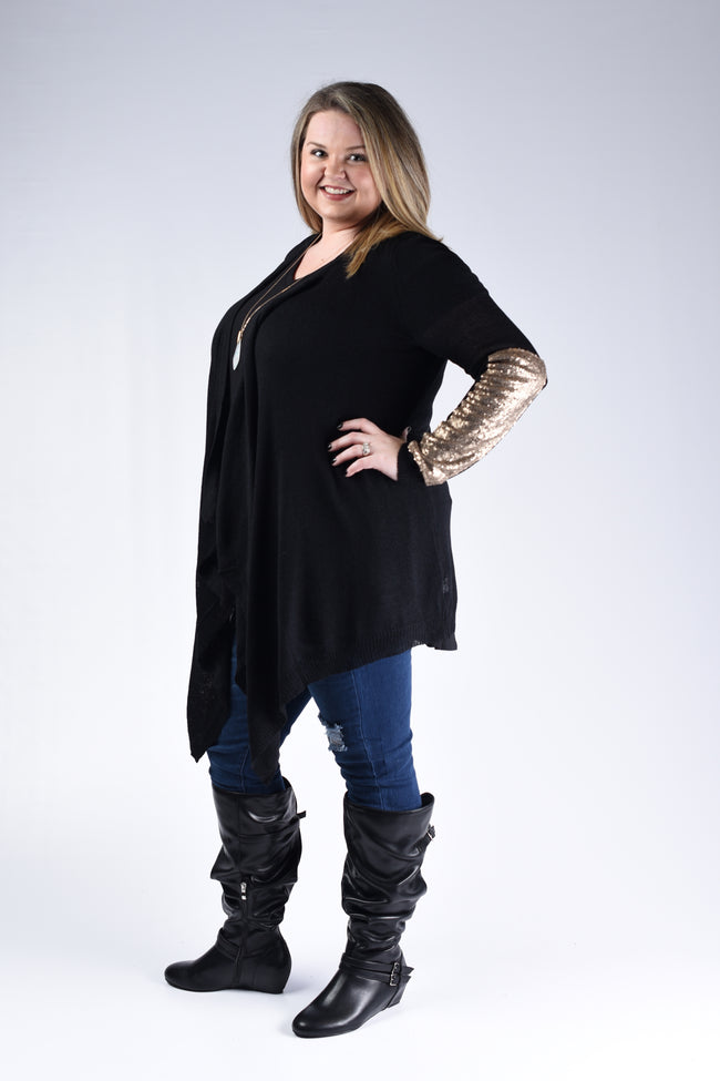Black & Gold Sequin Arm Cardigan - www.mycurvystore.com - Curvy Boutique - Plus Size