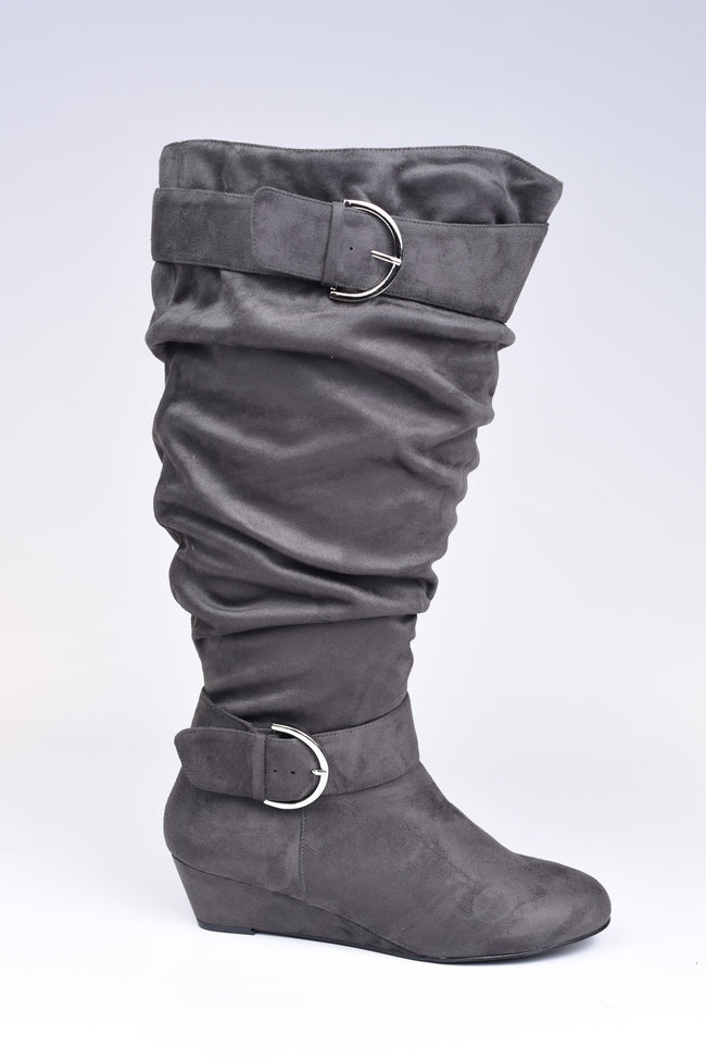 Grey Slouchy Buckle Boots - Extra Wide Calf - www.mycurvystore.com - Curvy Boutique - Plus Size