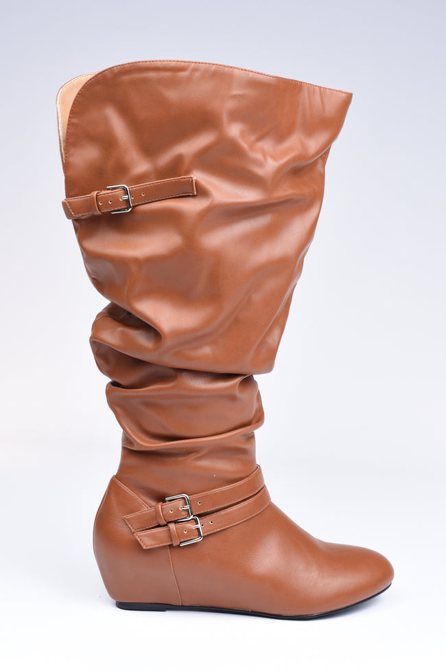 Cognac Ankle Zip Boots - Extra Wide Calf - www.mycurvystore.com - Curvy Boutique - Plus Size