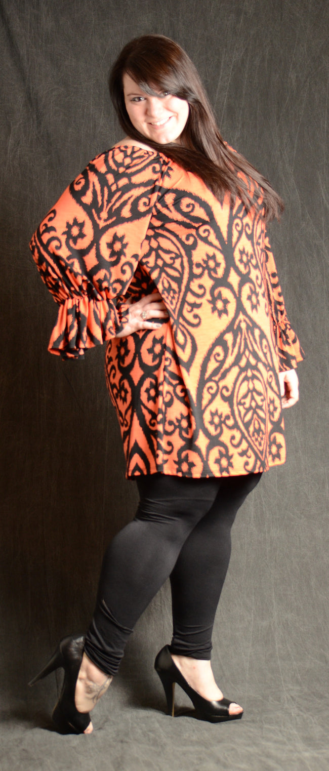 Orange/Coral & Black Shift Dress - www.mycurvystore.com - Curvy Boutique - Plus Size