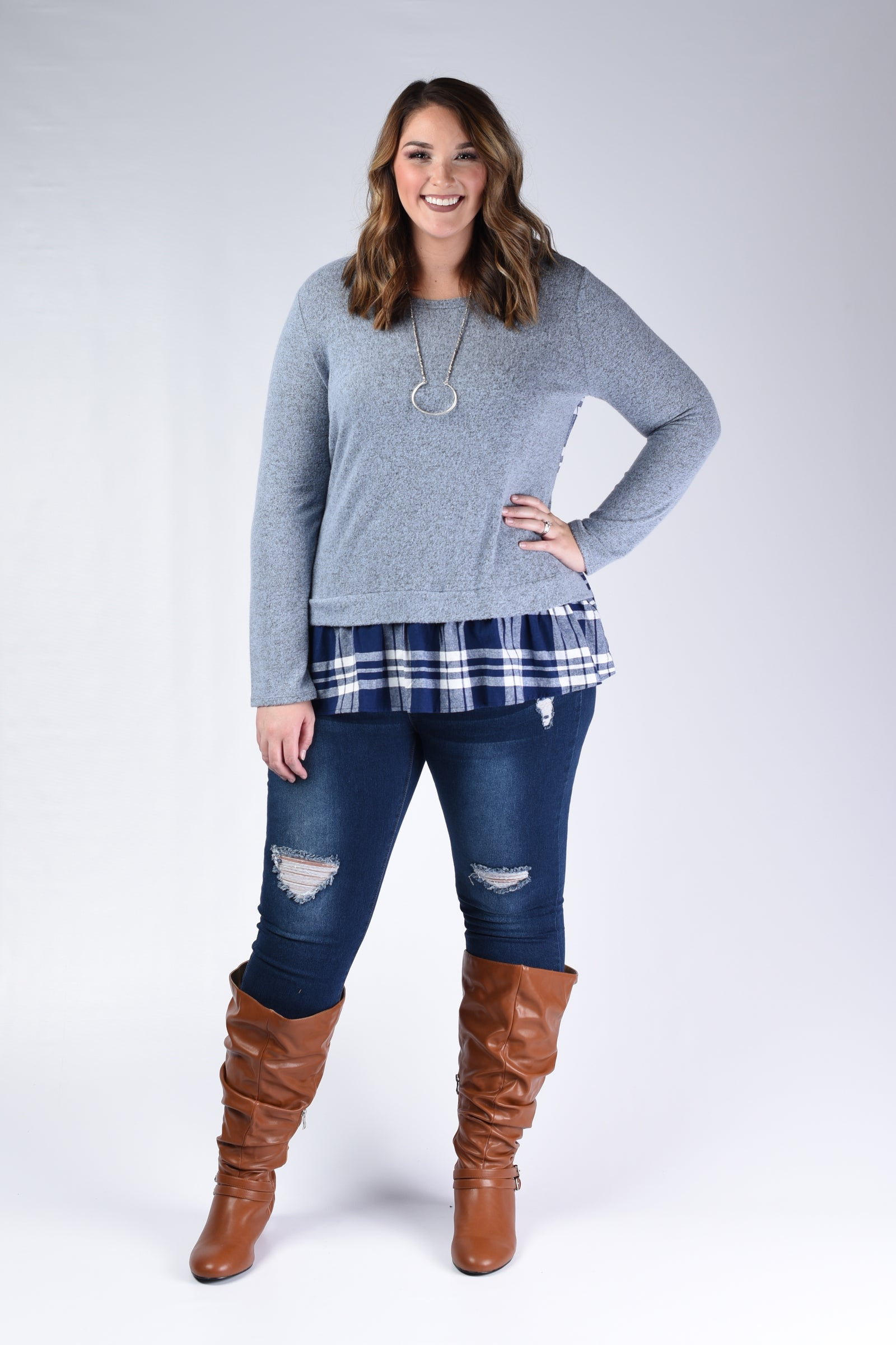 Blue & Plaid Top - www.mycurvystore.com - Curvy Boutique - Plus Size