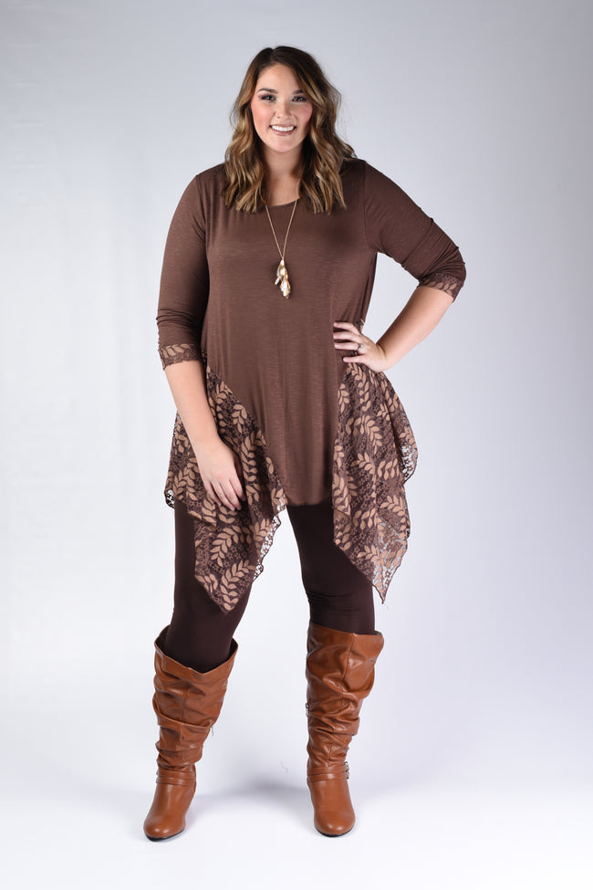 Brown Floral Lace Detail Tunic - www.mycurvystore.com - Curvy Boutique - Plus Size