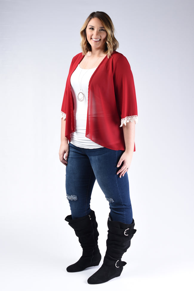 Red Crochet Cuff Cardigan - www.mycurvystore.com - Curvy Boutique - Plus Size