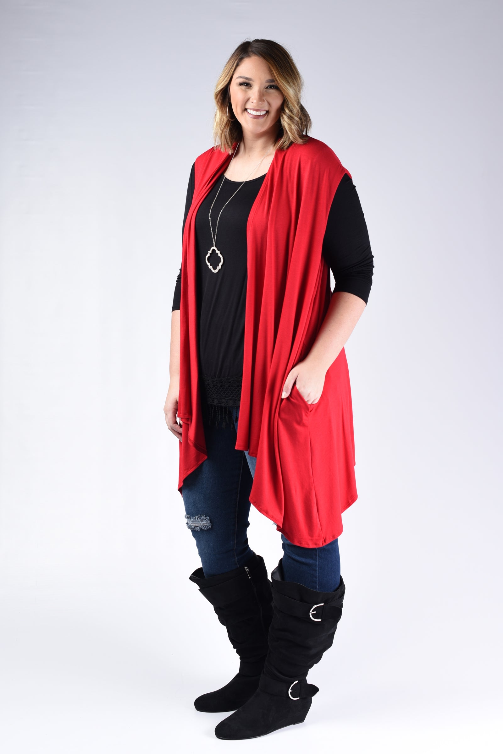 Red Pocket Vest Cardigan