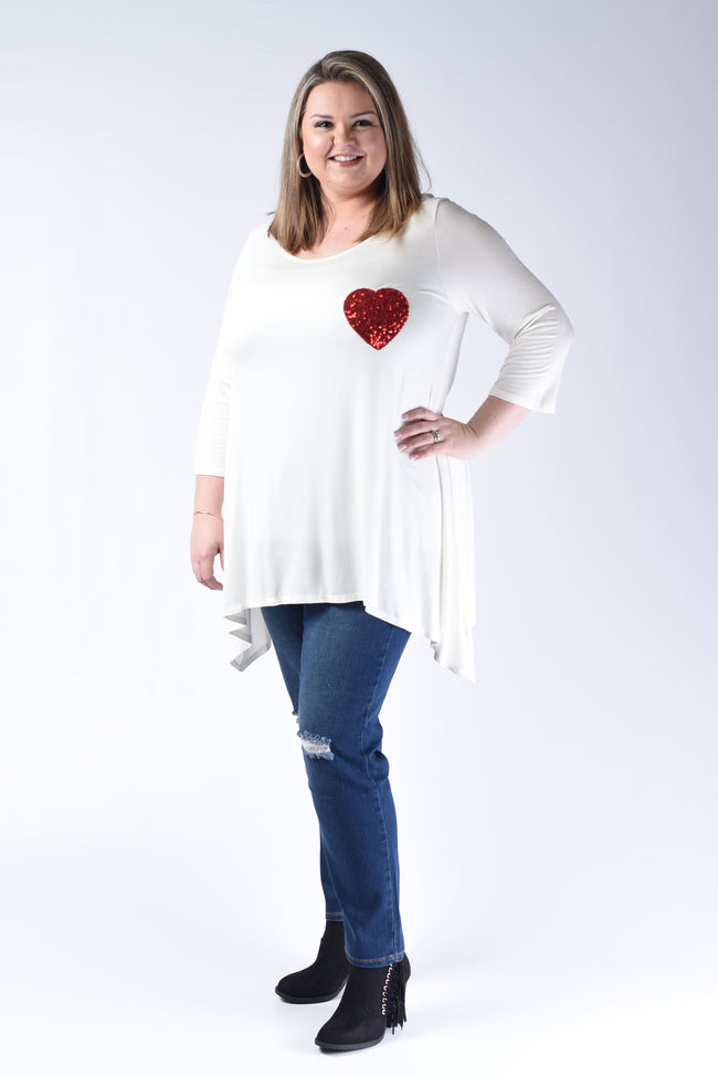 Ivory Sequin Heart Patch Top - www.mycurvystore.com - Curvy Boutique - Plus Size