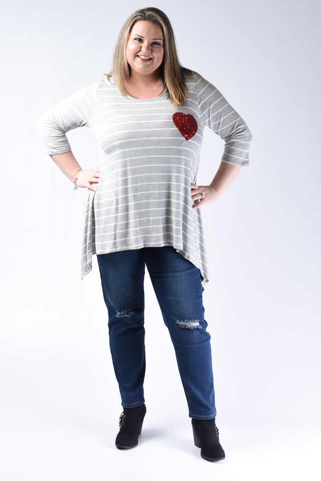 Striped Gray Heart Patch Top