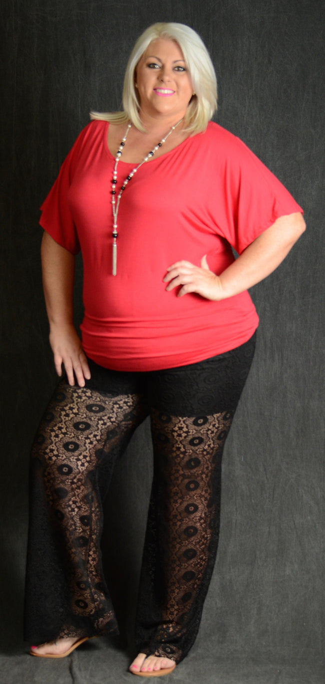 Red Solid Top - Curvy Plus Size Boutique - 1