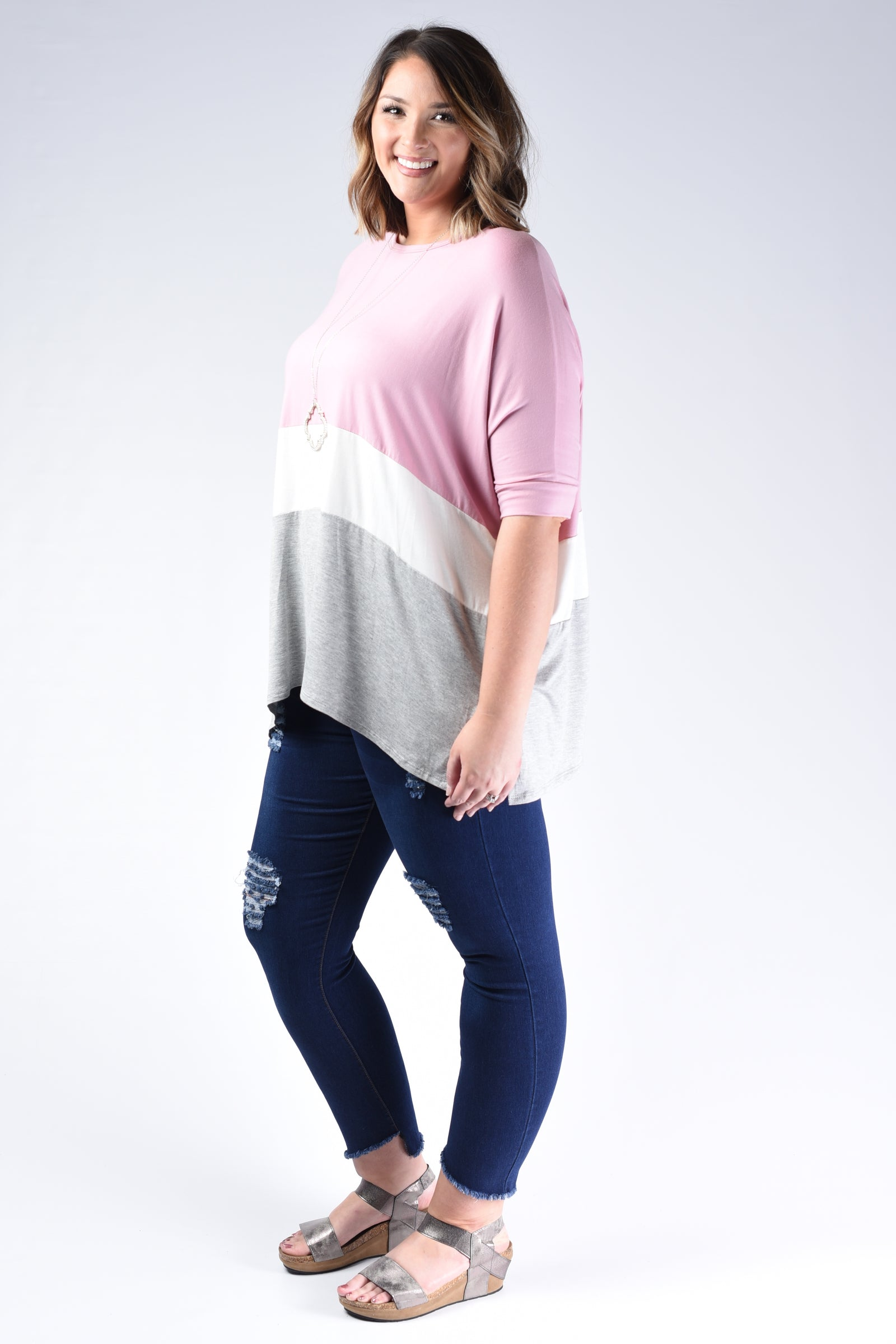 Casual Color Block Tunic Top - www.mycurvystore.com - Curvy Boutique - Plus Size