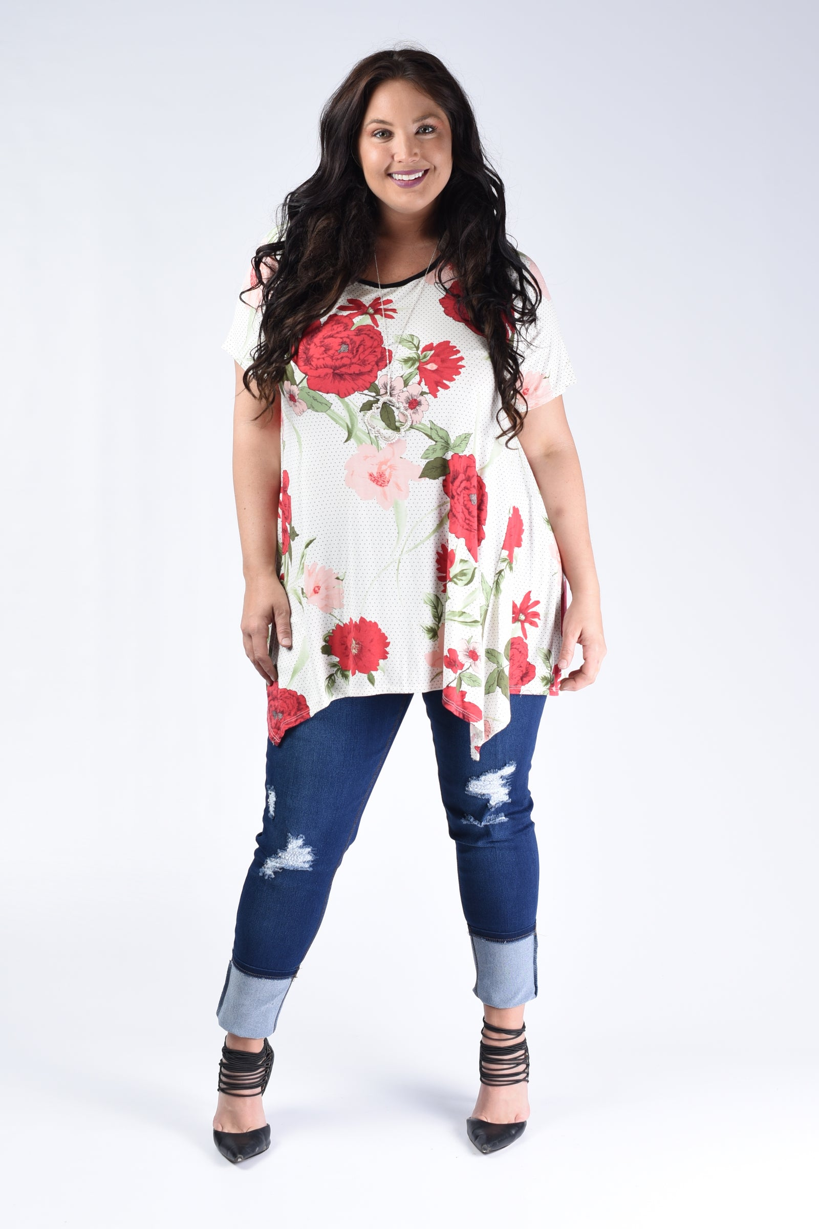 Red Floral Lace-Up Back Top - www.mycurvystore.com - Curvy Boutique - Plus Size