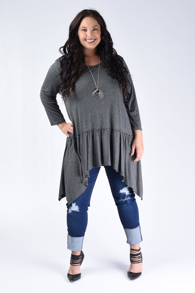 Charcoal Layer Asymmetrical Tunic - www.mycurvystore.com - Curvy Boutique - Plus Size