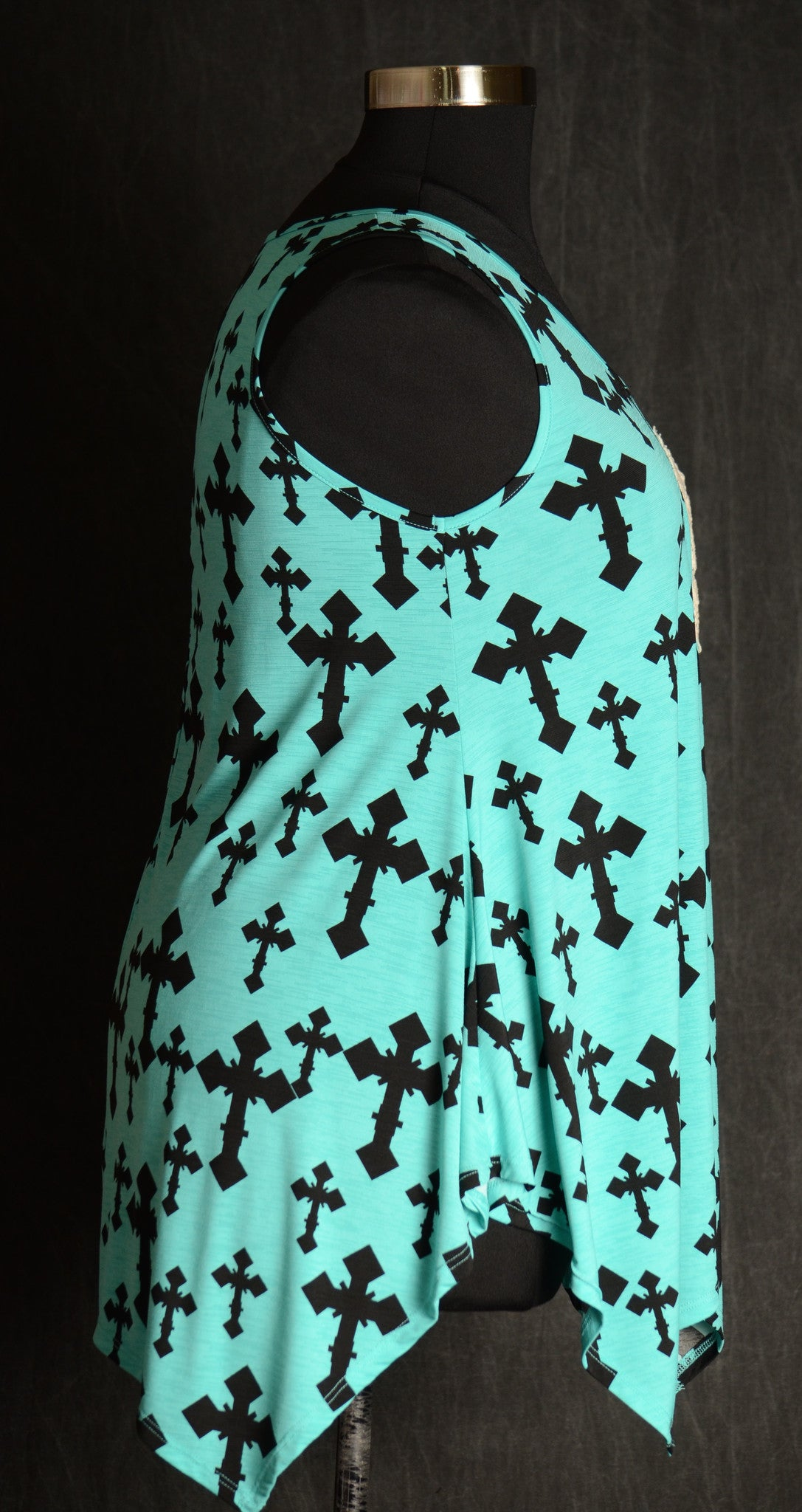Turquoise Cross Tank - www.mycurvystore.com - Curvy Boutique - Plus Size