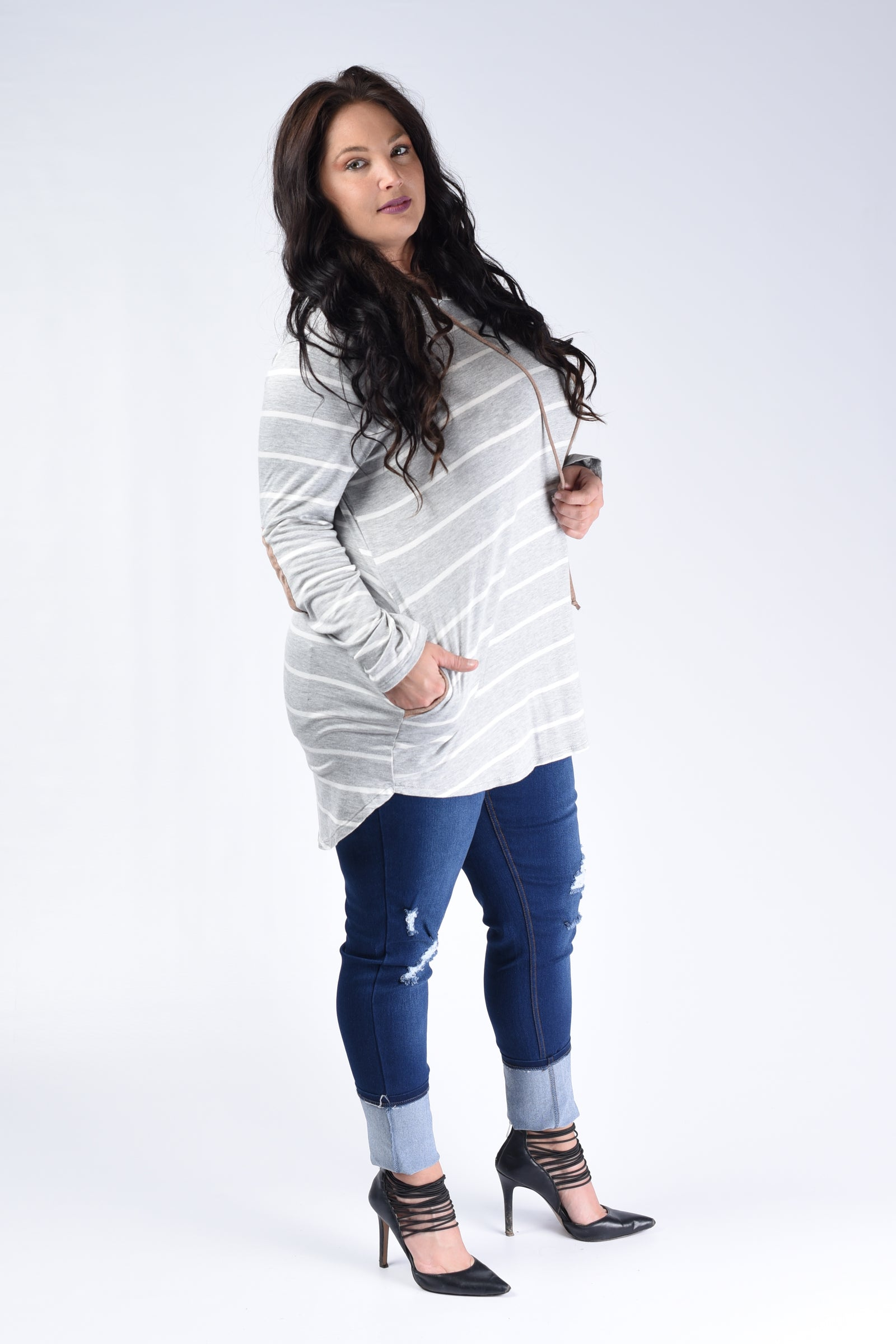 Grey Striped Hooded Top - www.mycurvystore.com - Curvy Boutique - Plus Size