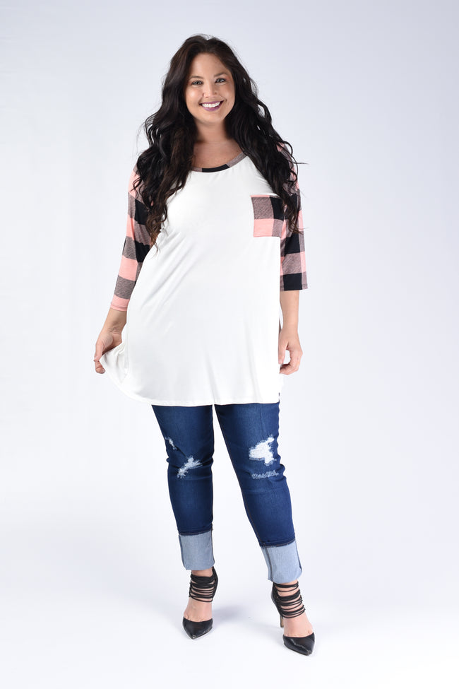 Pink Checker Raglan Top