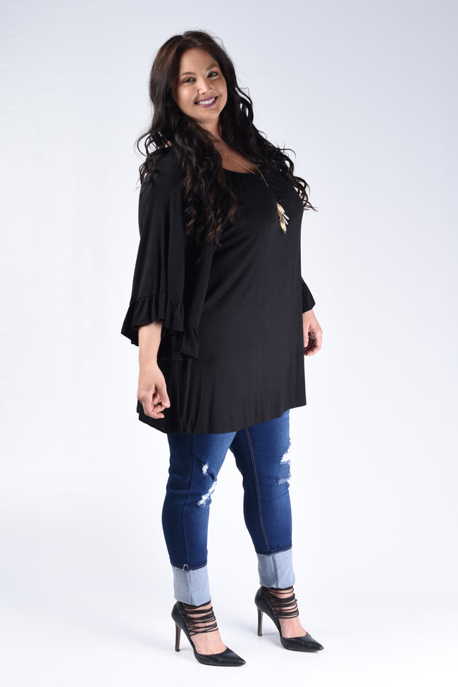 Black Wide Sleeve Top - Loose Fit - www.mycurvystore.com - Curvy Boutique - Plus Size