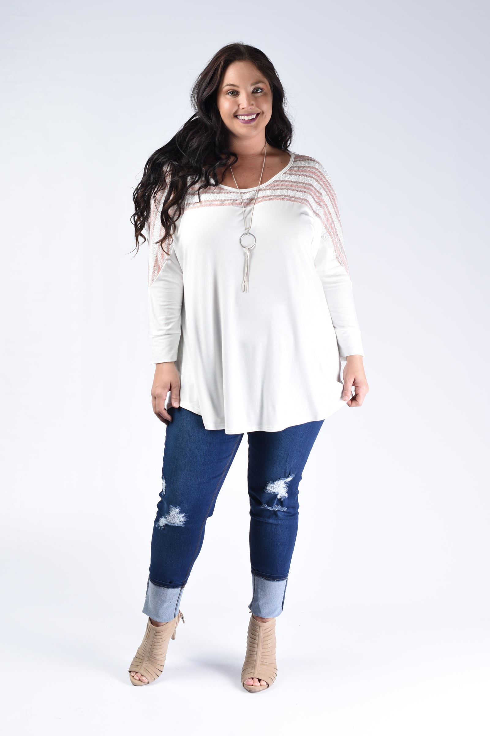 White & Blush Shoulder Top - www.mycurvystore.com - Curvy Boutique - Plus Size