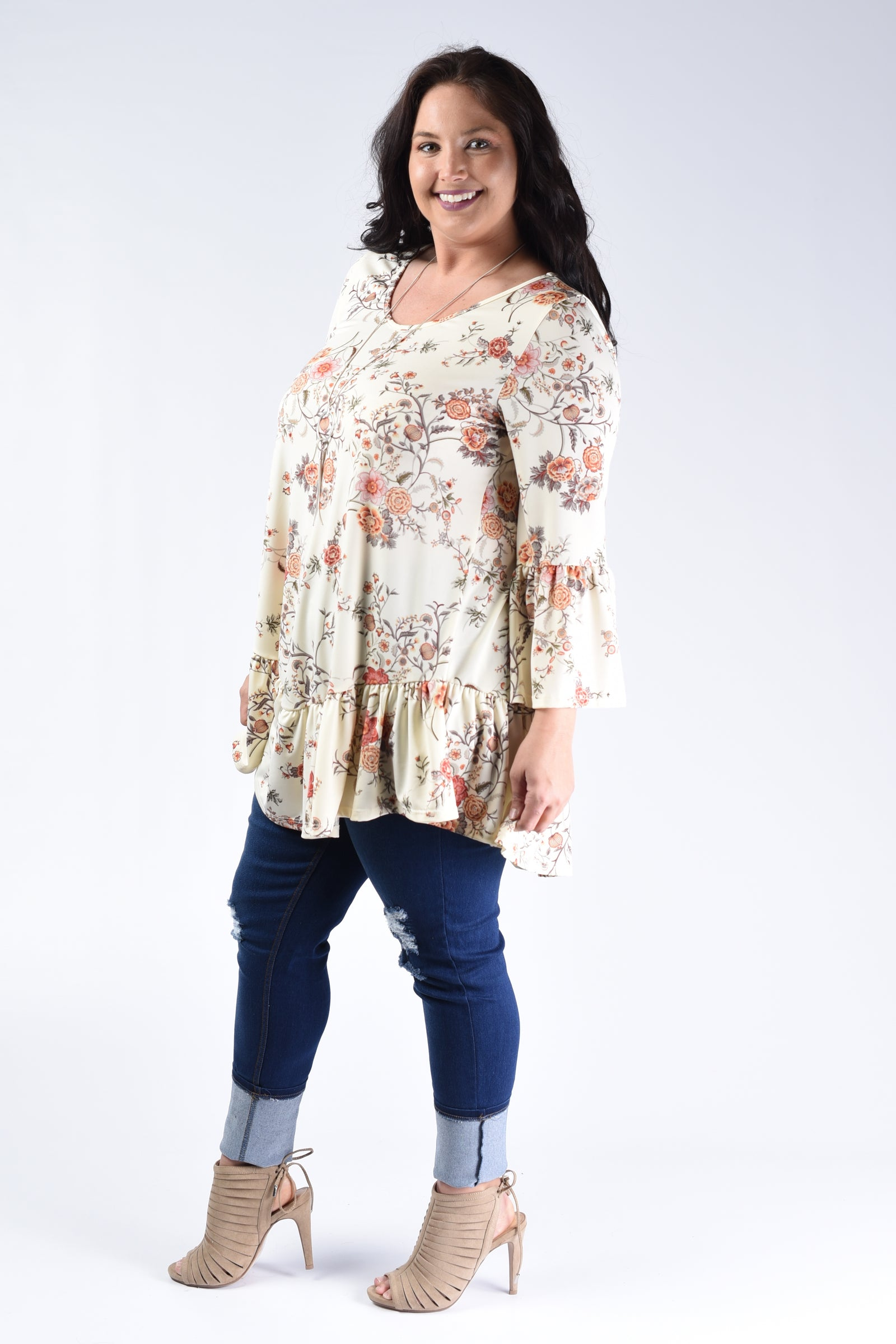 Ivory Floral Ruffle Hem Top - www.mycurvystore.com - Curvy Boutique - Plus Size
