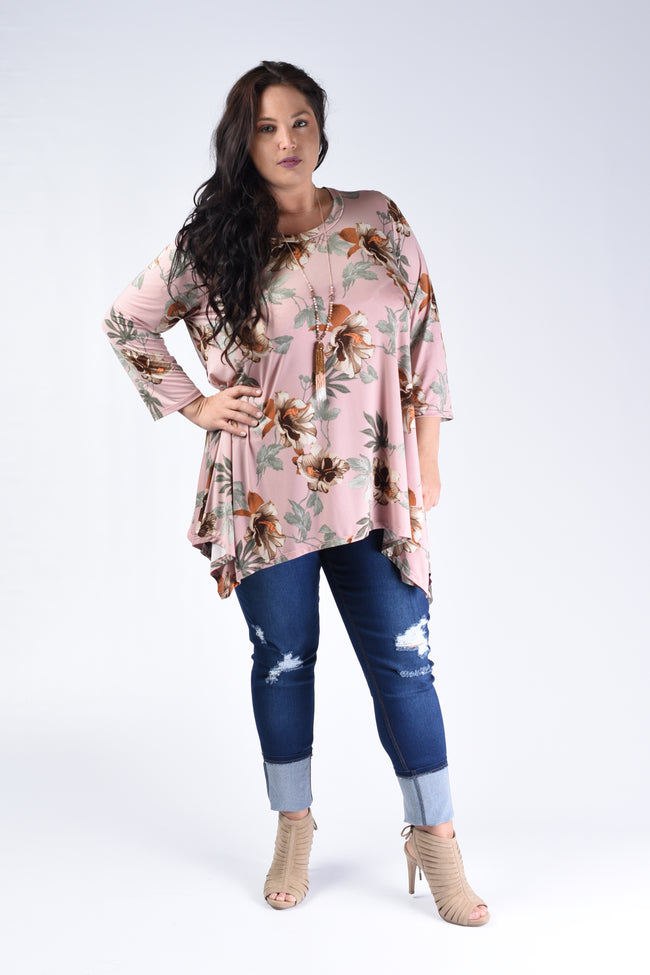 Pink & Taupe Floral Top