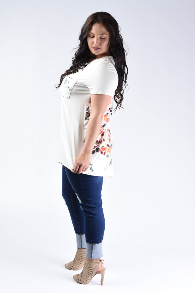 Ivory Floral Back Pocket Tee