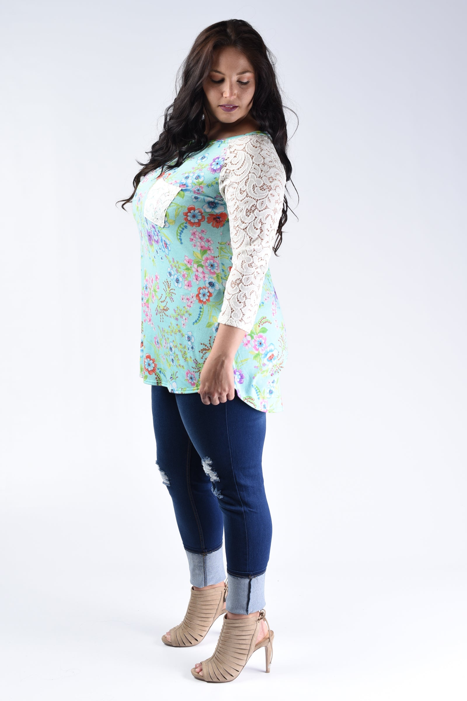 Mint Floral & Lace Top - www.mycurvystore.com - Curvy Boutique - Plus Size
