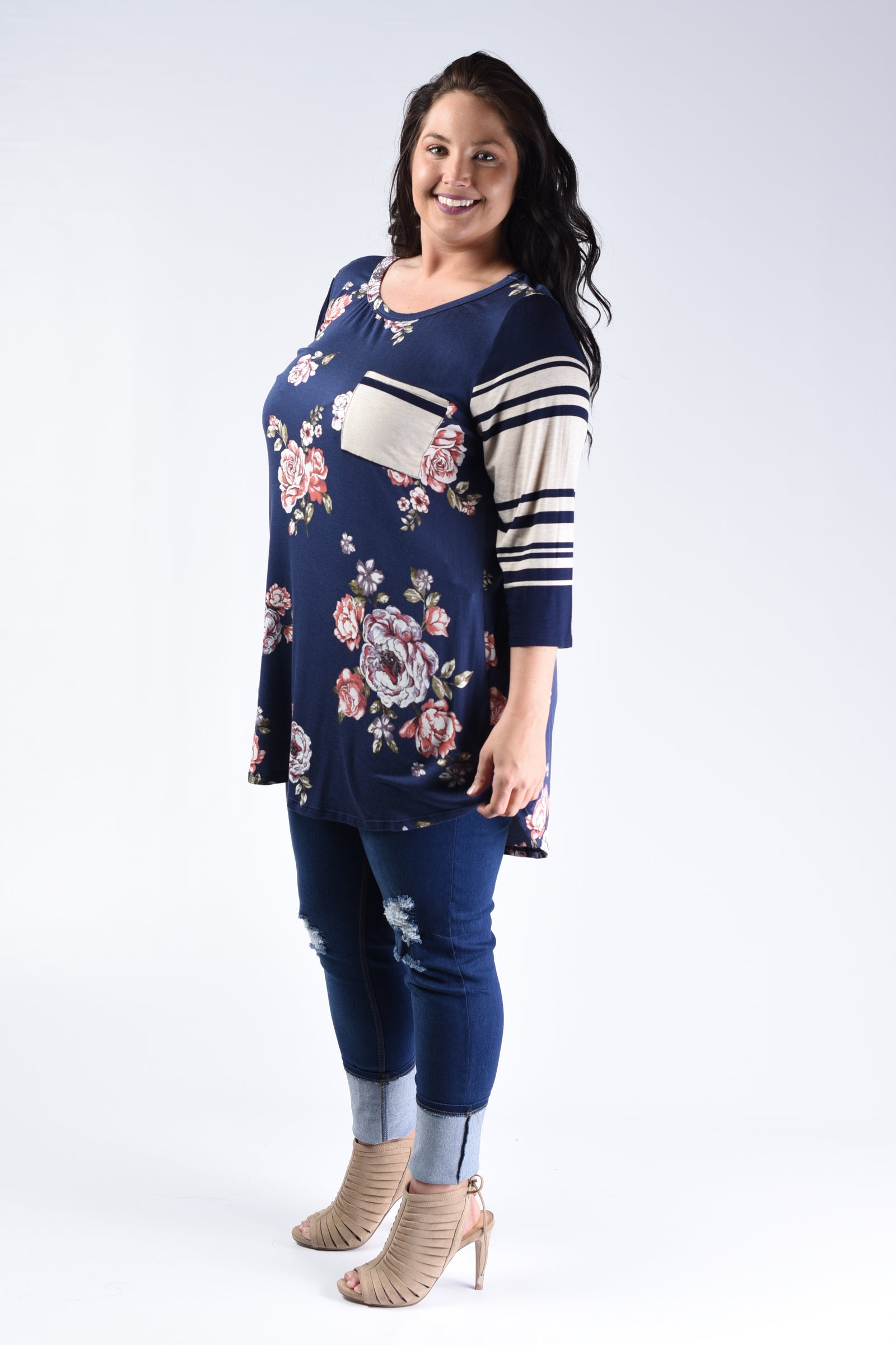 Navy & Floral Stripe Sleeve Top