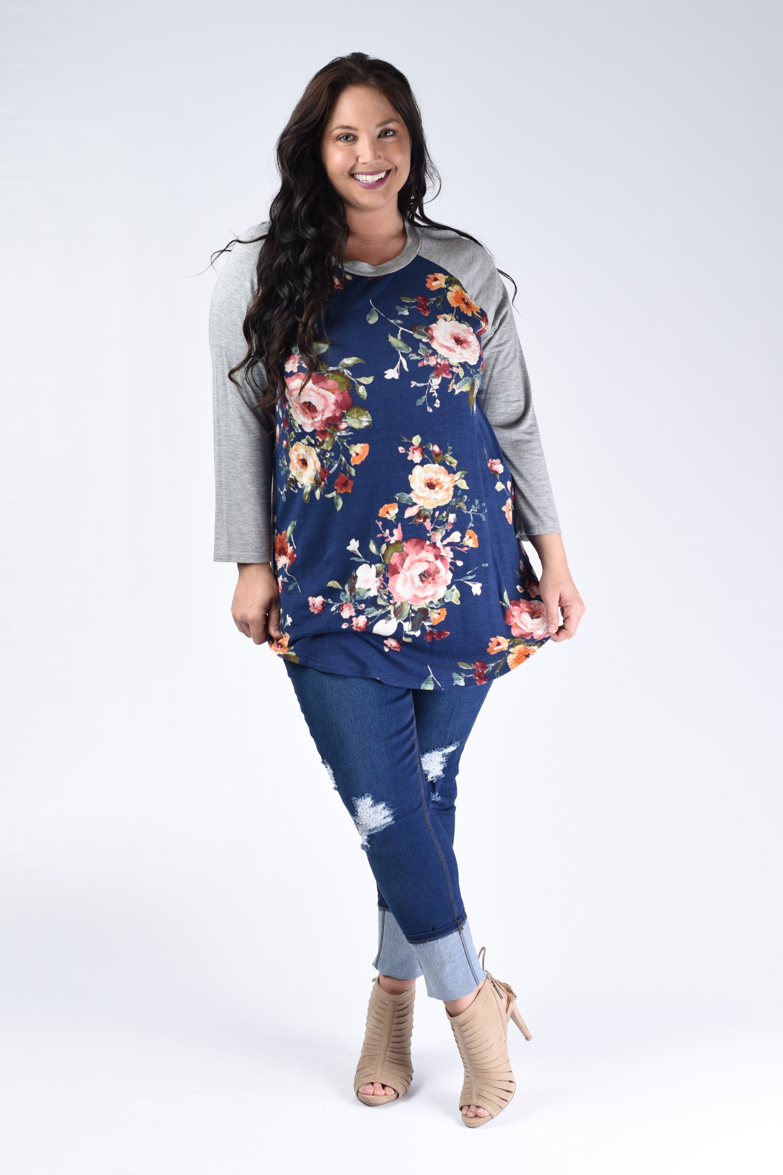 Navy & Grey Floral Solid Sleeve Top - www.mycurvystore.com - Curvy Boutique - Plus Size