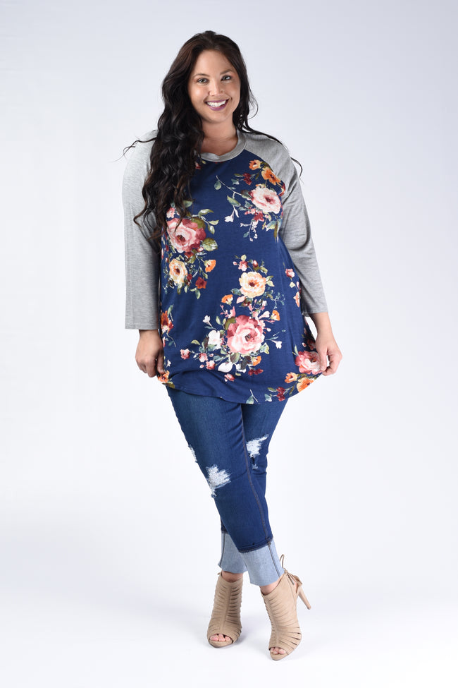 Navy & Grey Floral Solid Sleeve Top