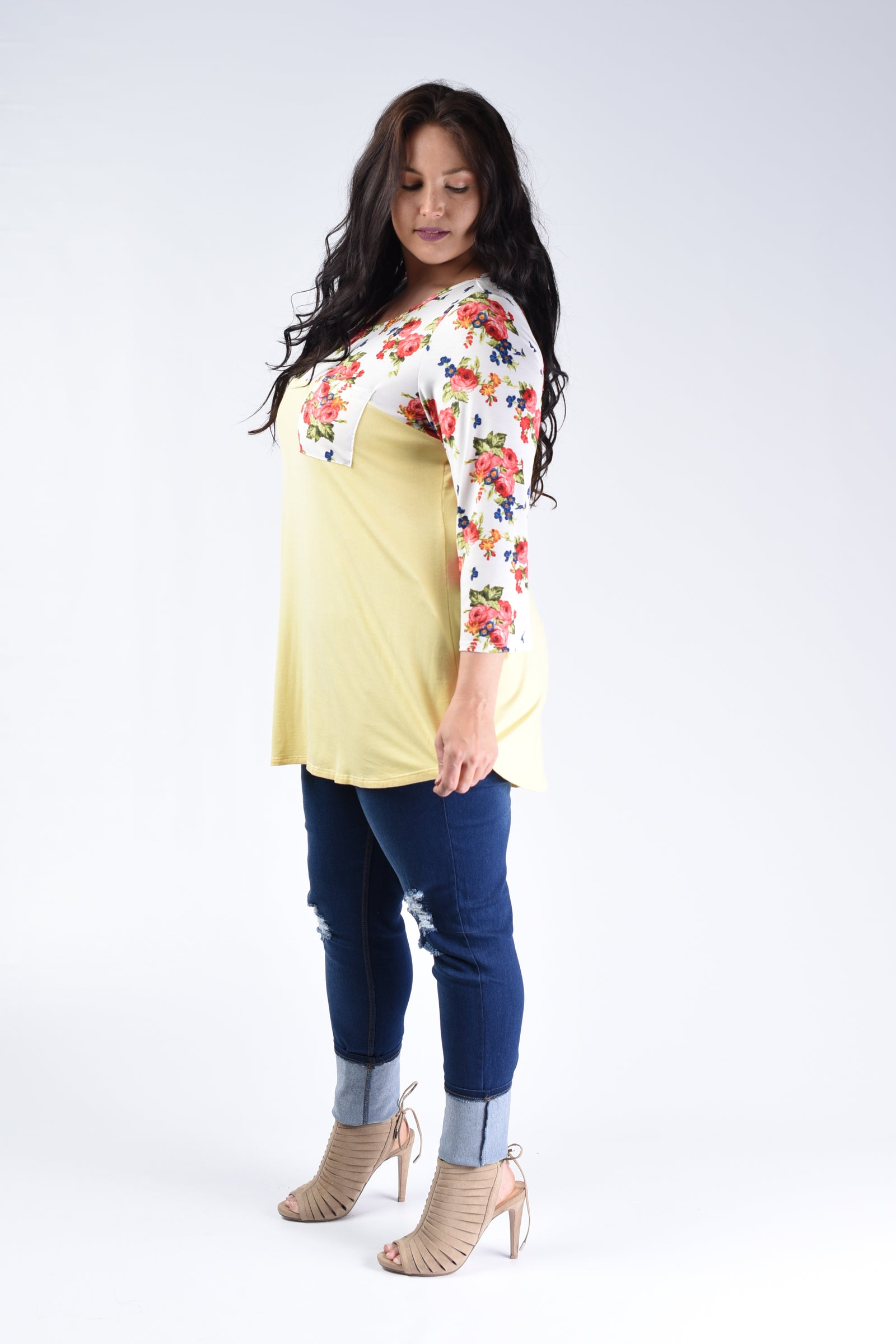 Yellow & Floral Contrast Top - www.mycurvystore.com - Curvy Boutique - Plus Size