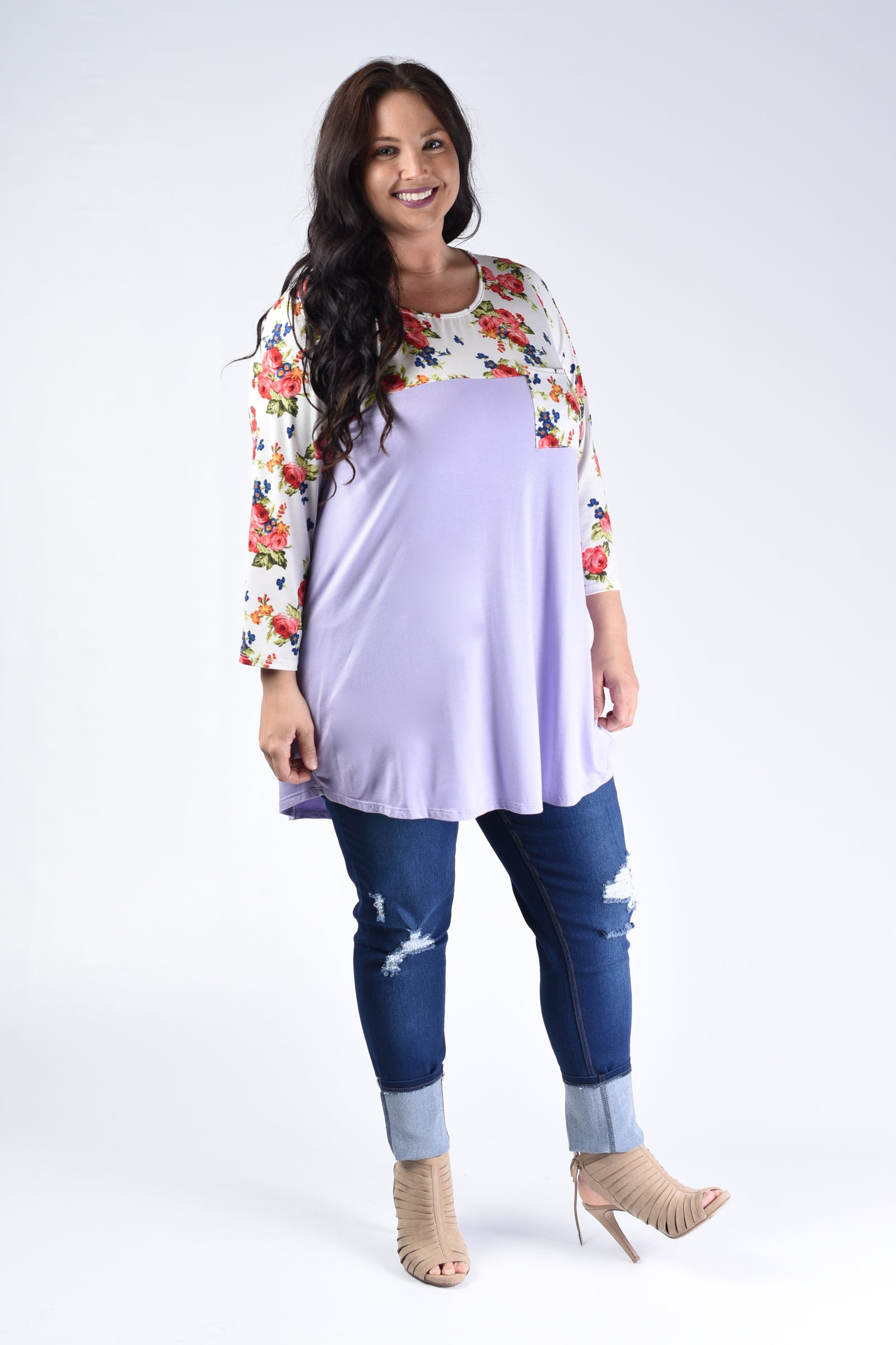 Lilac & Floral Contrast Top