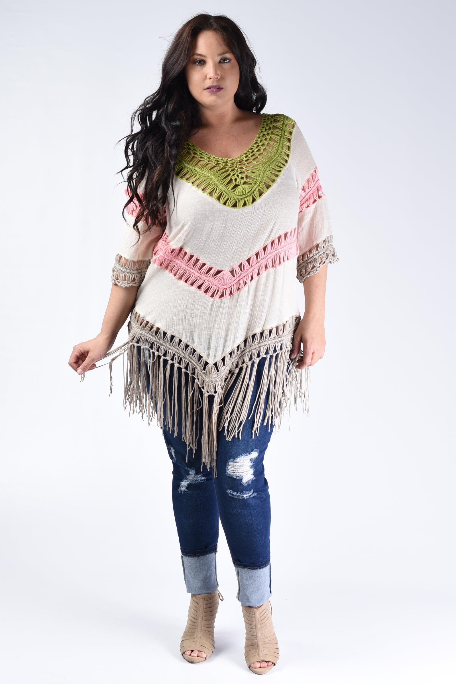 Pink & Lime Crochet Tunic - www.mycurvystore.com - Curvy Boutique - Plus Size